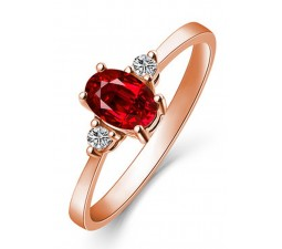 1 Carat Trilogy Ruby and Diamond Engagement Ring in Rose Gold