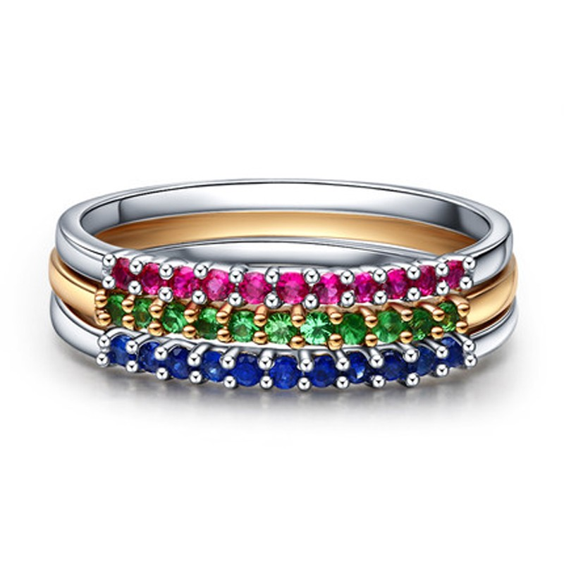 Stackable Set Of 3 Gemstones Ruby Sapphire And Emerald Wedding Ring Bands For Women