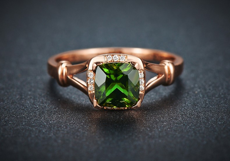 Beautiful 1 Carat cushion cut Emerald and Diamond Engagement Ring