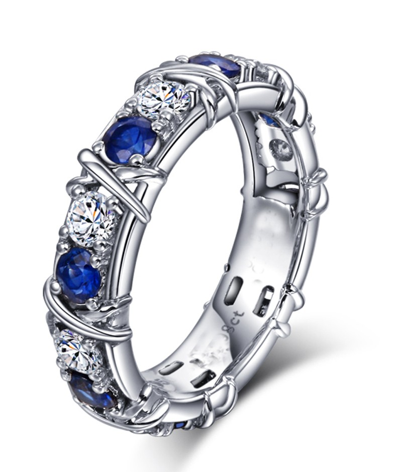Designer 1 Carat alternating Diamond and Sapphire Wedding Ring Band in White