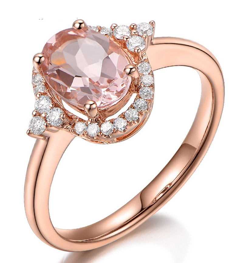 Vintage 2 Carat Morganite and Diamond Engagement Ring in Rose Gold