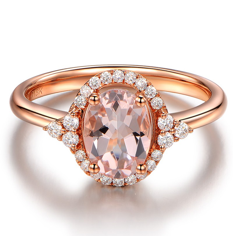 Vintage 2 Carat Morganite and Diamond Engagement Ring in Rose Gold JeenJewels