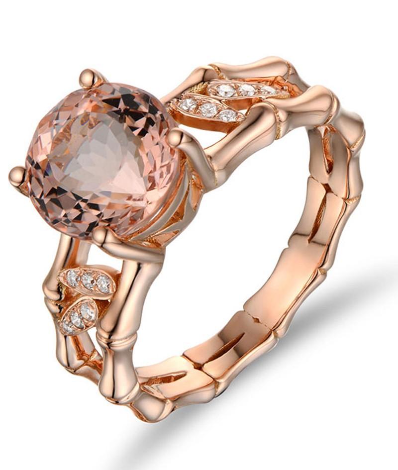 Designer 1 50 Carat Morganite and Diamond Vintage Engagement Ring in Rose Gol