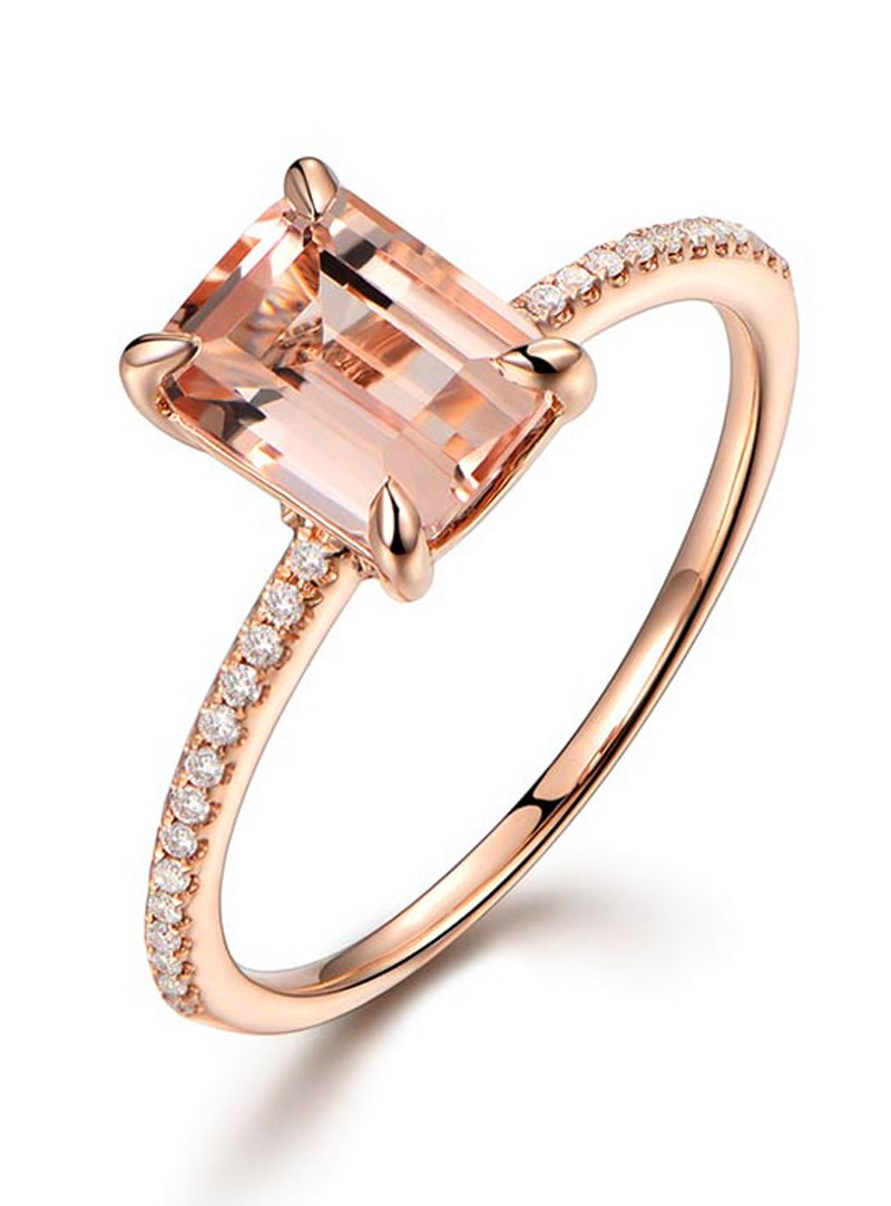 2 Carat Morganite and Diamond Classic Multistone Engagement Ring in