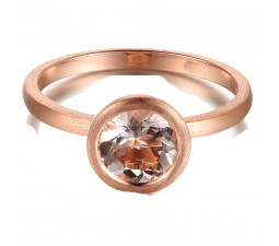 1 Carat Bezel set Morganite Solitaire Gemstone Engagement Ring in Rose Gold