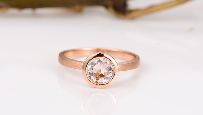 ... 1 Carat Bezel set Morganite Solitaire Gemstone Engagement Ring in Rose  Gold ...