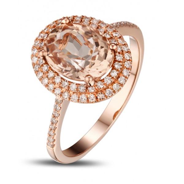 3 Carat Morganite and Diamond double Halo Designer Engagement Ring in Rose Go