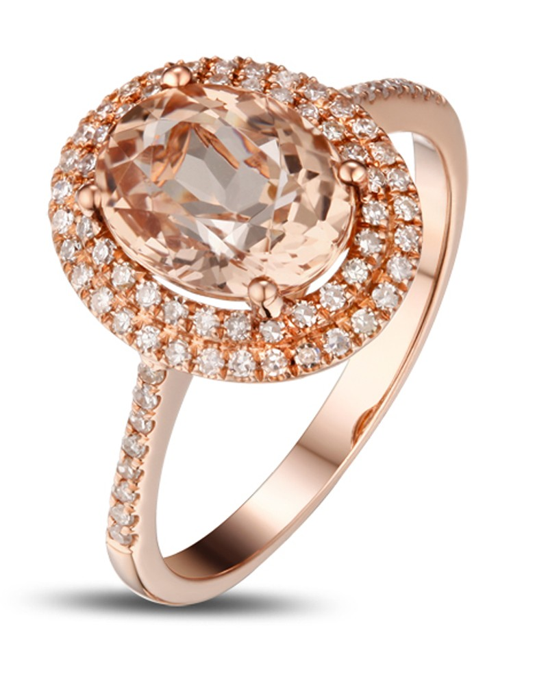 3 Carat Morganite And Diamond Double Halo Designer Engagement Ring In Rose  Gold