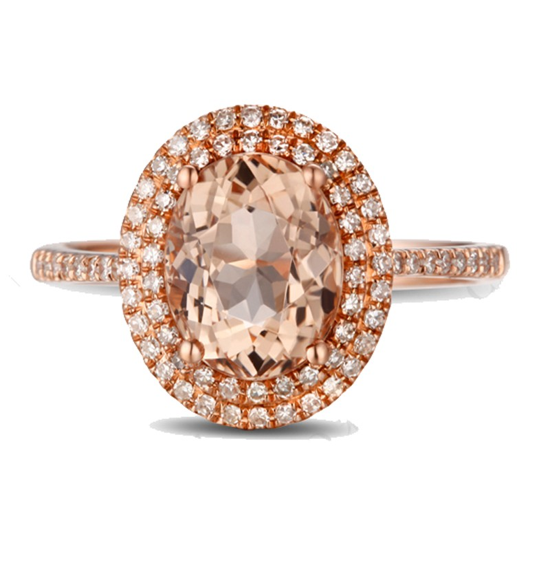 3 Carat Morganite and Diamond double Halo Designer Engagement Ring in Rose Go