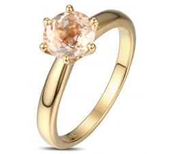 1 Carat Round shape Morganite Solitaire Engagement Ring in Yellow Gold