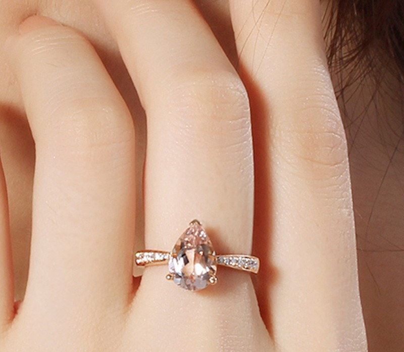 1 50 Carat Morganite And Diamond Halo Engagement Ring In
