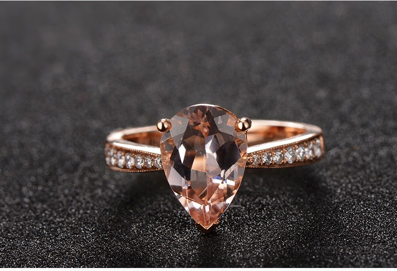 150 Carat Morganite and Diamond Halo Engagement Ring in Rose Gold