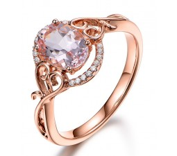 Vintage 1 Carat Morganite and Diamond Engagement Ring in Rose Gold
