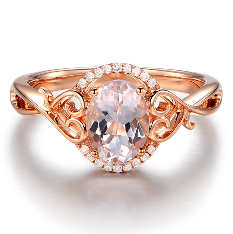 Vintage 1 Carat Morganite and Diamond Engagement Ring in Rose Gold JeenJewels