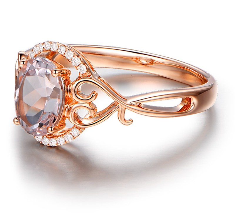 ... Vintage 1 Carat Morganite and Diamond Engagement Ring in Rose Gold ...