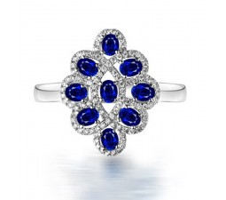 3 Carat Vintage Unique Blue Sapphire and Diamond Engagement Ring for Women