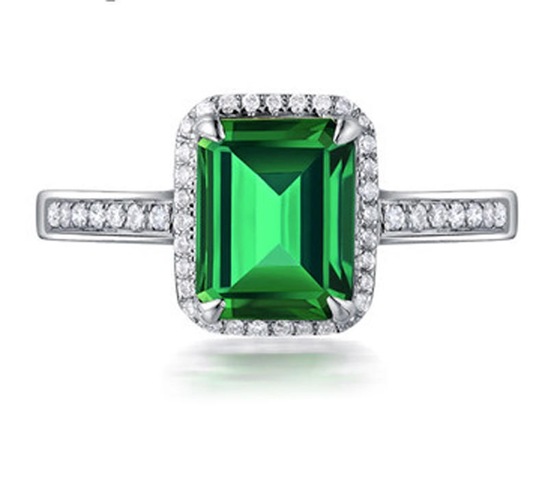 1.50 Carat princess cut Emerald and Diamond Halo Engagement Ring in White  Gold.