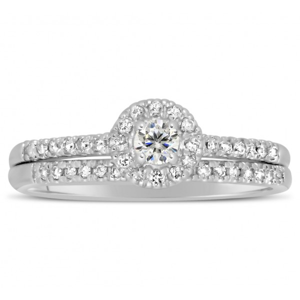 beautiful bridal set halo engagement ring on 10k white