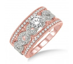 1.50 Carat Antique Trio Bridal Set Engagement Ring with Round Diamond in 10k White and Rose Gold