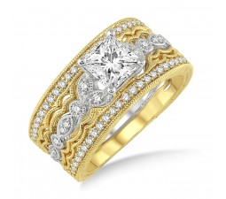 1.50 Carat Antique Trio Bridal Set Engagement Ring with Princess Diamond in 10k White and Yellow Gold