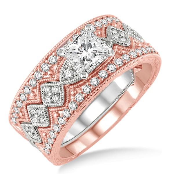 carat antique trio bridal set engagement ring with. Black Bedroom Furniture Sets. Home Design Ideas