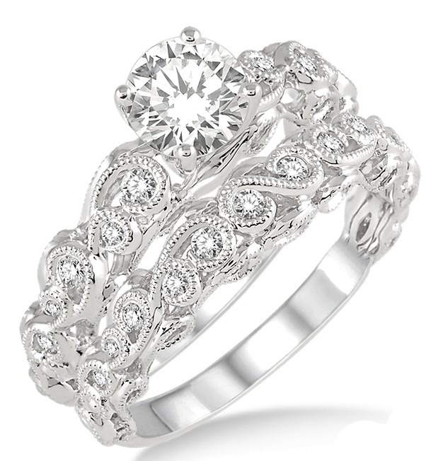 1.00 Carat Infinity Antique Bridal Set In Round Cut Diamond In 10k White  Gold.