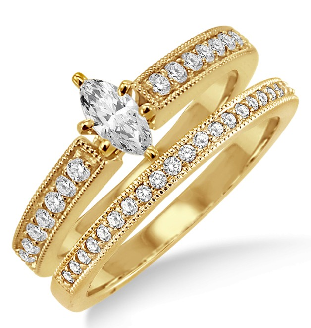 Marquise Cut Wedding Set | 1 00 Carat Bridal Set With Marquise Cut Diamond In 10k Yellow Gold
