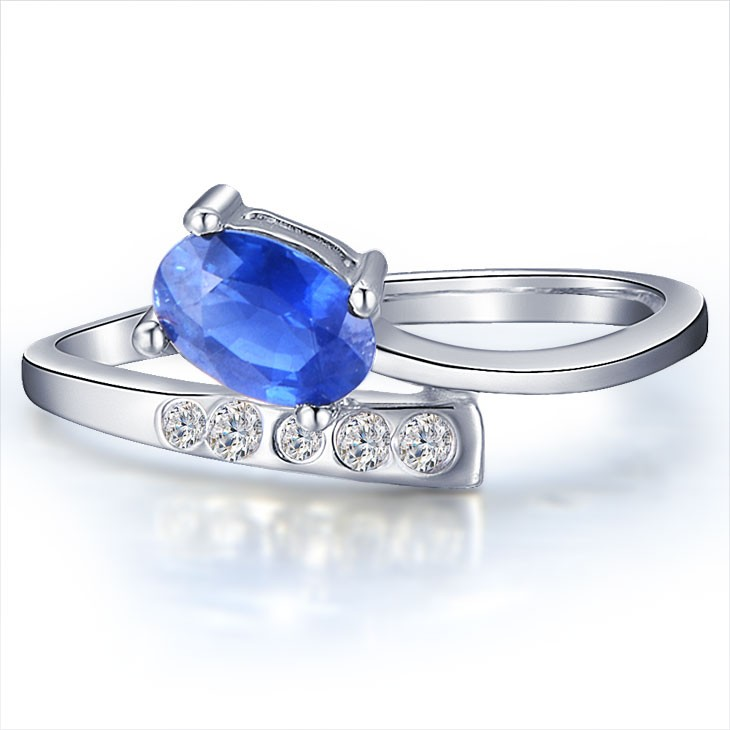 Unique Sapphire Diamond Engagement Ring On 10k White Gold