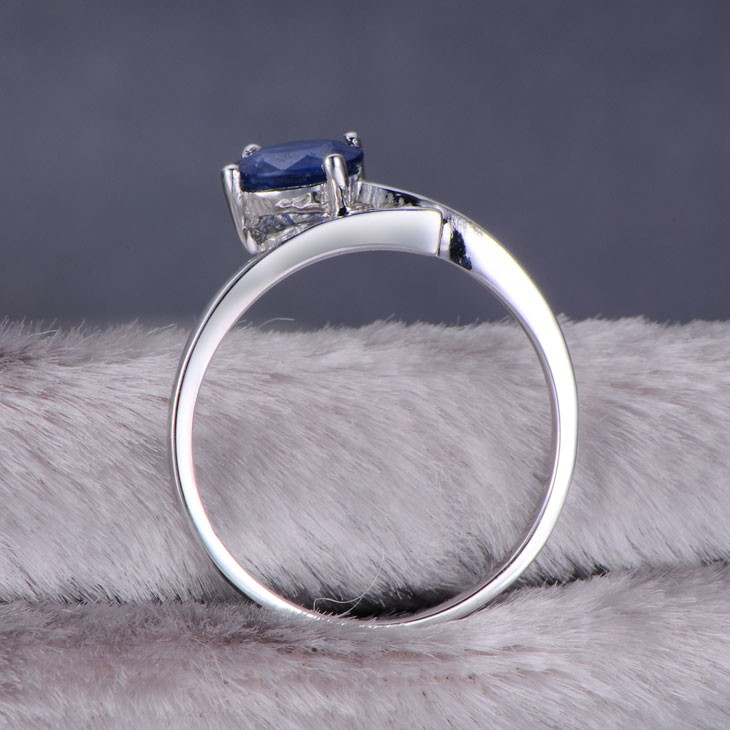 Unique Sapphire Diamond Engagement Ring On 9ct White Gold