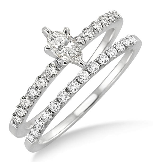 050 carat bridal set with marquise cut diamond in 10k white gold