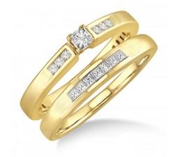 Affordable 0.50 Carat Bridal Set with Princess Cut Diamond in 10k Yellow Gold