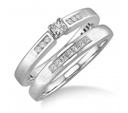 Affordable 0.50 Carat Bridal Set with Princess Cut Diamond in 10k White Gold