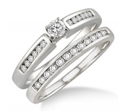 Affordable 0.50 Carat Bridal Set with Round Cut Diamond in 10k White Gold