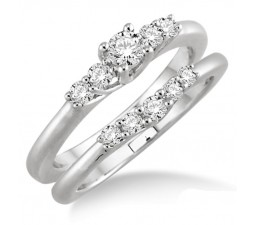 Inexpensive 0.50 Carat Bridal Set with Round Cut Diamond in 10k White Gold