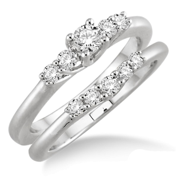 Inexpensive 0.50 Carat Bridal Set with Round Cut Diamond in 10k White Gold