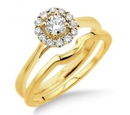 0.50 carat Bridal set Halo with Round Cut diamond in 10k Yellow Gold