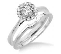 0.50 carat Bridal set Halo with Round Cut diamond in 10k White Gold