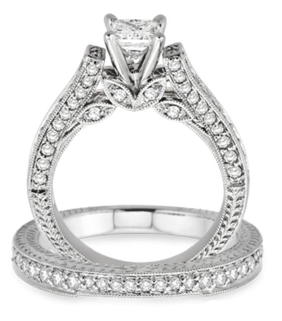 2 10 Carat Antique Bridal Set Engagement Ring With Princess Cut Diamond In 10k White Gold