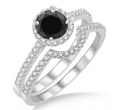 2 Carat Black Diamond Halo Bridal Set Engagement Ring on 10k White Gold