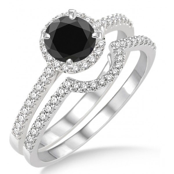 engagement rings black diamond 2 carat black diamond halo bridal set