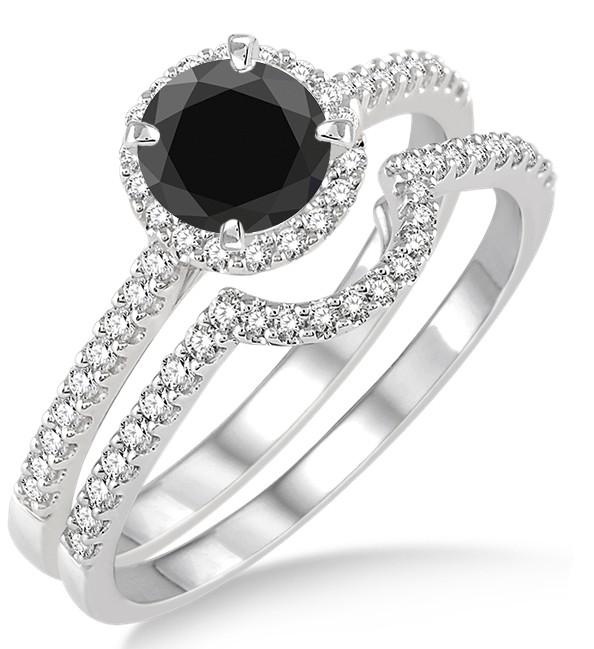 2 Carat Black Diamond Halo Bridal Set Engagement Ring on 10k White Gold.