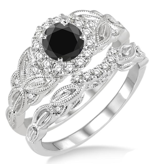 1.25 Carat Black Diamond Vintage floral Bridal Set Engagement Ring on 10k  White Gold.
