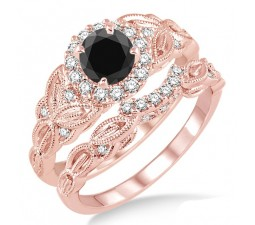 1.25 Carat Black Diamond Vintage floral Bridal Set Engagement Ring on 10k Rose Gold