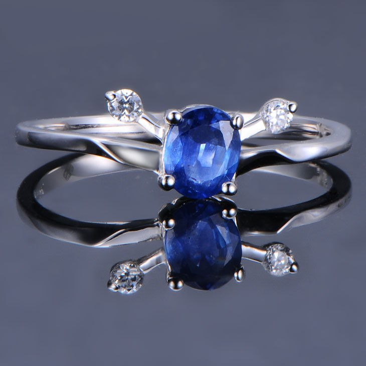 Sapphire With Diamond Engagement Ring On 10k White Gold