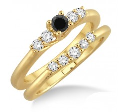 1.25 Carat Black Diamond Affordable Bridal Set on 10k Yellow Gold