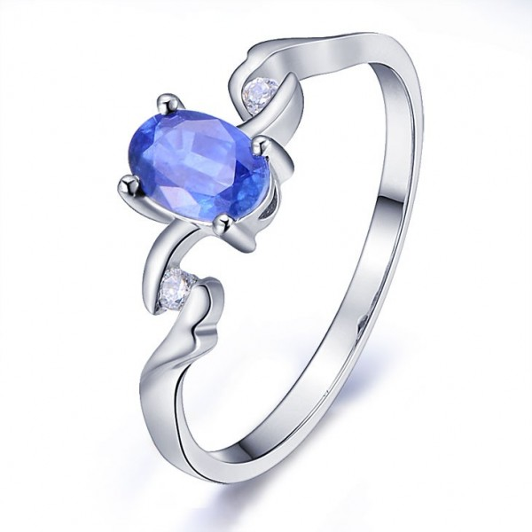 JeenJewels.com Inexpensive Sapphire Engagement Ring with Diamonds on 10k White Gold