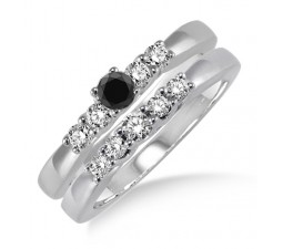 1.25 Carat Black Diamond Elegant 5 stone Bridal Set on 10k White Gold