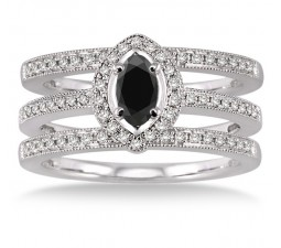 2 Carat Black Diamond Antique Trio set Halo Ring on 10k White Gold