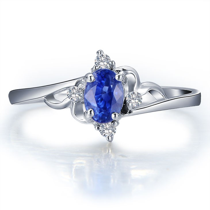 ... Sapphire With Diamond Engagement Ring On 10k White Gold ...