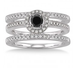 2 Carat Black Diamond Trio set Halo Ring on 10k White Gold